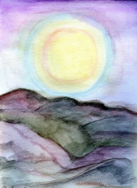 Sunset over mountains.  Original watercolor by Tammy Anne Gelfand.  Copyright (c) 2008-2102.  All Rights Reserved.