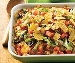 All the tasty taco ingredients in one dish...without the messy eating. A hot-from-the-oven casserole that is ready in 30 minutes.