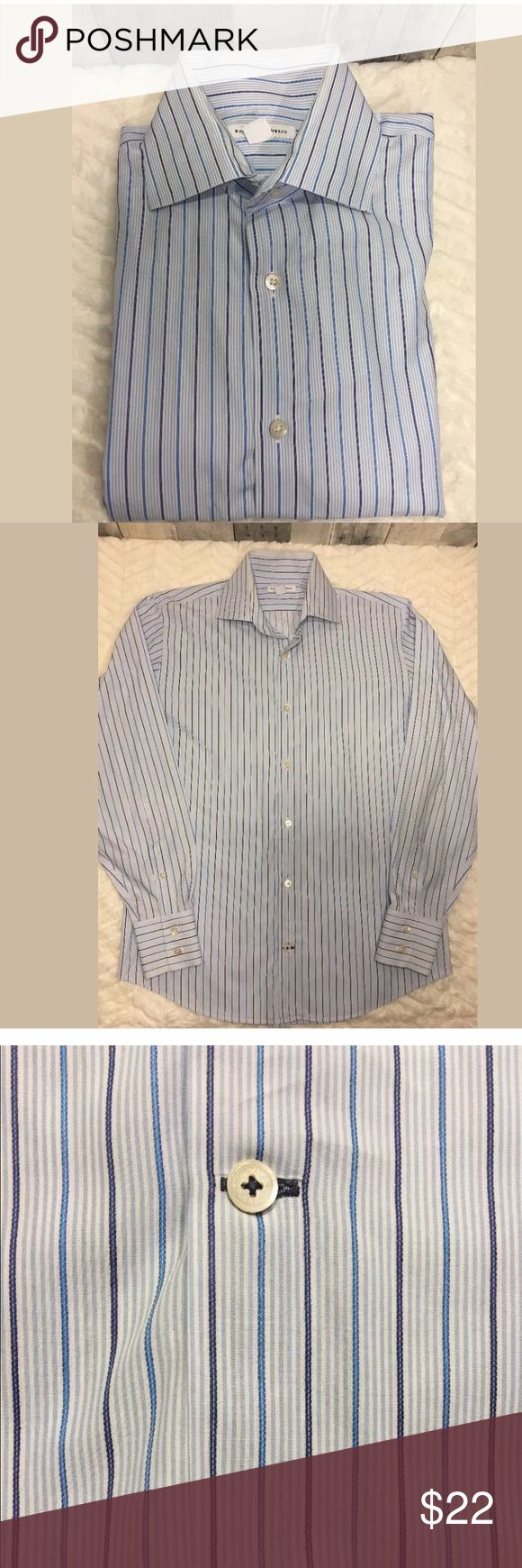 """Banana Republic Slim Fit Non Iron Dress Shirt Banana Republic Slim Fit Non Iron Dress Shirt Sz M 15-15 1/ 2 White Blue Striped Dress shirt is in excellent condition with no FLAWS! In new condition. Armpit to armpit: 22.5"""" Length: 29""""  ***I have other Banana Republic dress shirts listed if interested.  Thanks for looking! Banana Republic Shirts Dress Shirts"""