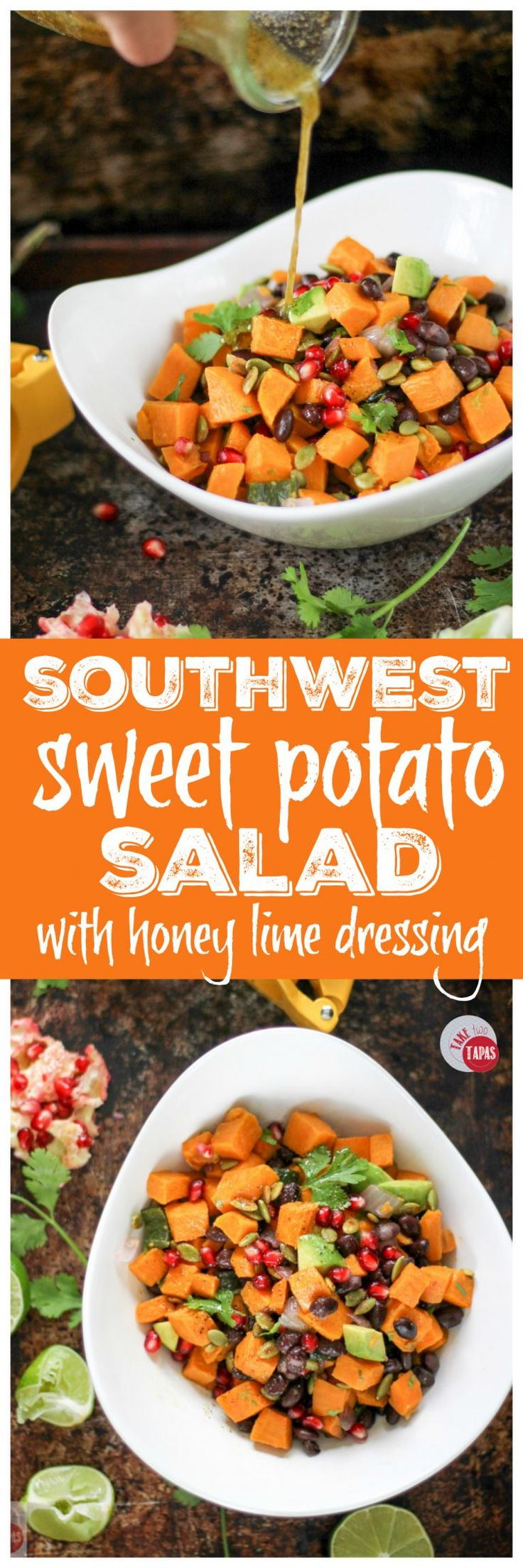 Sweet potatoes, black beans, and avocado make a power-packed salad for any season! Drizzled with a honey lime vinaigrette for a little tartness, this salad will make your tastebuds dance! Southwest Sweet Potato Salad with Honey Lime Vinaigrette Recipe   Take Two Tapas