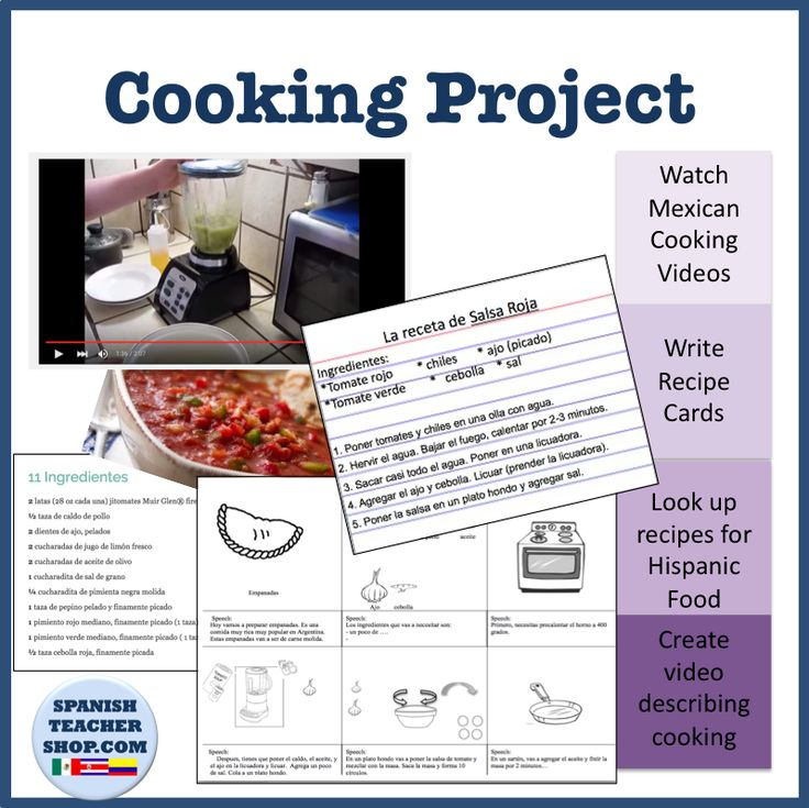 Spanish Cooking Project: Rewrite steps to a recipe, watch cooking videos, and more