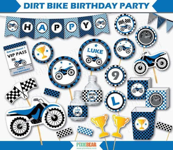 Motocross Birthday Party Toppers by PixieBearParty on Etsy #MotoccycleBirthday #DirtBikeParty
