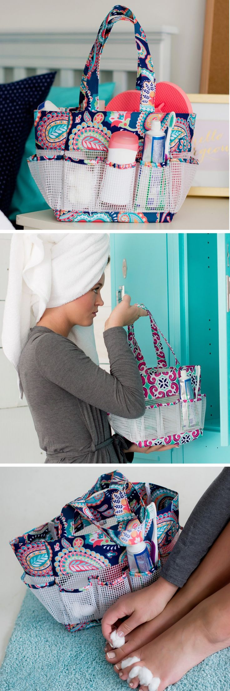 Your daughter, sister, or BFF will think of you every time she uses her mesh shower caddy personalized with her name or monogram initial. With a roomy open center and 7 mesh storage compartments, this light and versatile caddy keeps shower accessories, manicure and pedicure supplies neatly organized for travel to and from her college dorm room. A useful graduation gift for girls, this portable shower organizer can be ordered at https://www.tippytoad.com/personalized-mesh-shower-caddies.asp