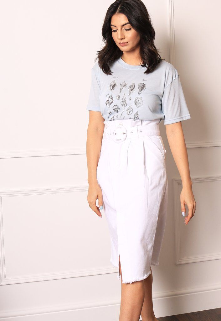 30a5223cae NEON ROSE High Waisted Belted Paperbag Denim Midi Skirt with Frayed He – One  Nation Clothing