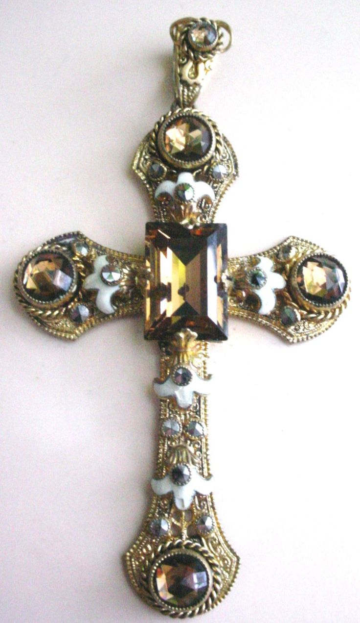 Estate Antique Cross Pendant With Topaz Stone From Germany