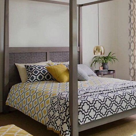 John Lewis Indah Cotton Duvet Cover and Pillowcase Set, Saffron