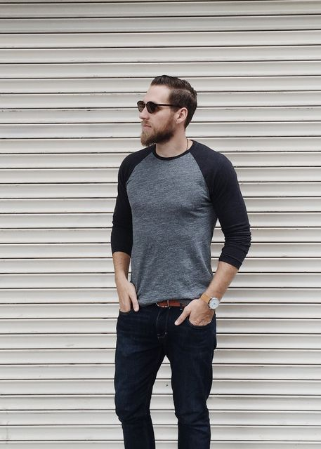 Guys, keep casual this fall in our soft-wash gray crew tee. George of Atlas  and Mason wears it with a classic pair of dark jeans