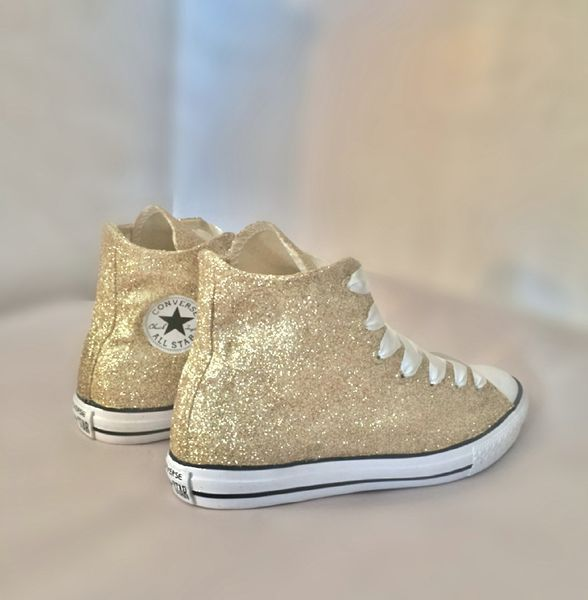 $15 OFF with code: PINNED15 Sparkly Glitter Converse All Stars Champagne Gold High Top Wedding Bride Prom Sneakers Shoes - Glitter Shoe Co