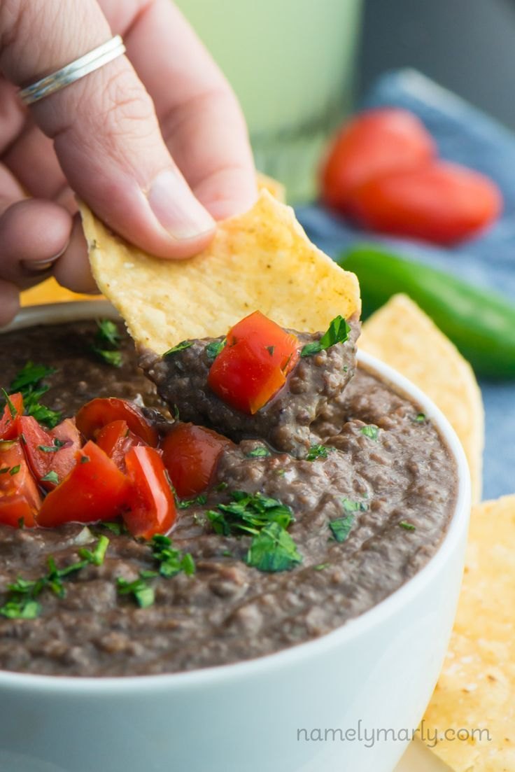 Healthy and fresh Black Bean dip. Serve this at your next party, book reading club, or family gathering. Be sure to have lots of chips on hand because everyone's going to want some of this delicious dip!