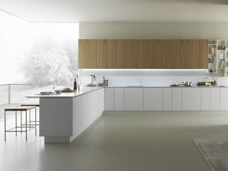 Oak kitchen with peninsula Y | Composition 05 Y Collection by Zampieri Cucine | design Pierangelo Sciuto