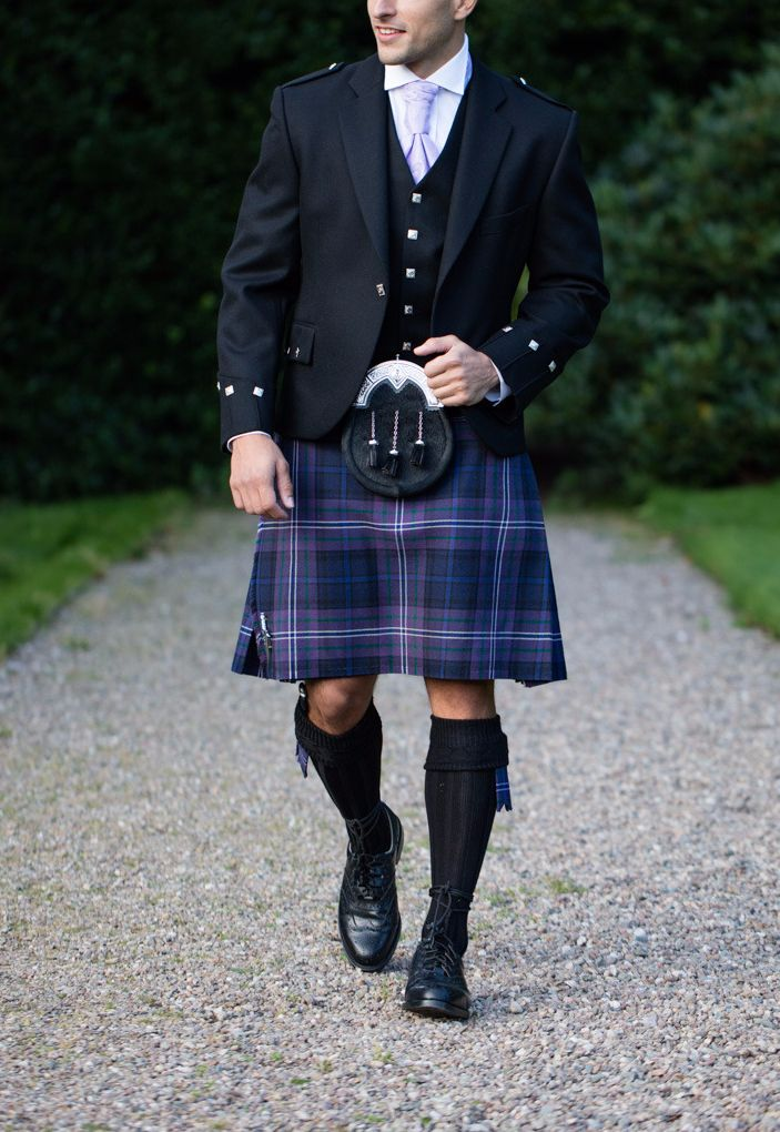 Scotland Forever tartan is another patriotic choice, combining blue tones and the purple of the thistle. This kilt looks fantastic with dark accessories and a lilac tie brining out the purple tones in the kilt. Perfect for bringing a touch of Scotland to any occasion.