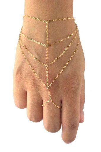 elgant multi-strand #goldslavebracelet from #Milatimadesigns #bridaljewelry #exoticjewelry #handharness