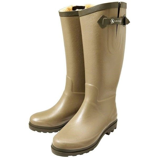 Women's Aigle Aiglentine Wellington Boots ($132) ❤ liked on Polyvore featuring shoes, boots, wellies boots, green wellington boots, waterproof wellington boots, waterproof rubber boots and green rain boots