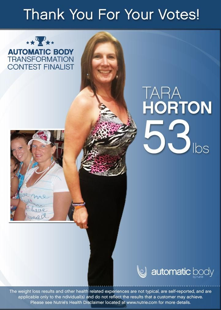 THANK YOU FOR VOTING.  My Name is Tara Horton and I have lost 53 pounds with help from the Automatic Body system.  CLICK HERE TO REQUEST YOUR FREE SAMPLE: http://nutrie.co/1gWIBjO