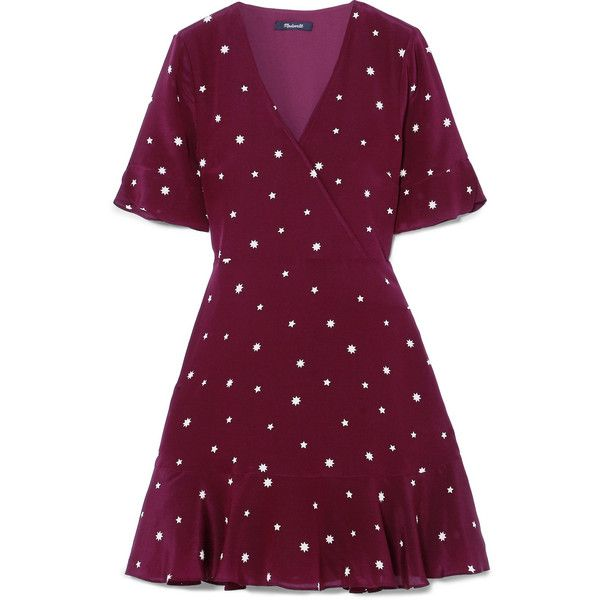 Madewell Printed silk mini dress ($240) ❤ liked on Polyvore featuring dresses, burgundy, short purple dresses, mini party dresses, purple dress, night out dresses and short dresses