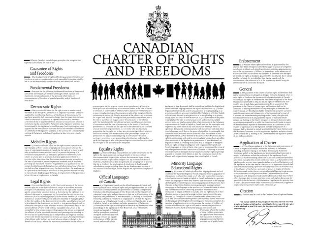 Canada: The Charter guarantees four fundamental freedoms and six basic rights. Library of Parliament.