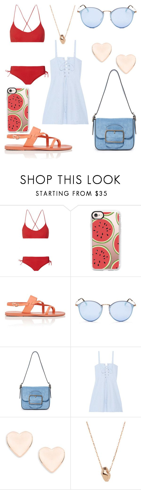 """Suggested Items #3"" by thegreendino ❤ liked on Polyvore featuring Emma Pake, Casetify, Ancient Greek Sandals, Ray-Ban, Tory Burch, Solid & Striped, Ted Baker and Gemma Crus"