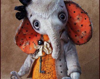 Spooky Alla Bears original artist Halloween Elephant oak art toy doll Vintage Antique baby handmade stuffed decor Fall strange