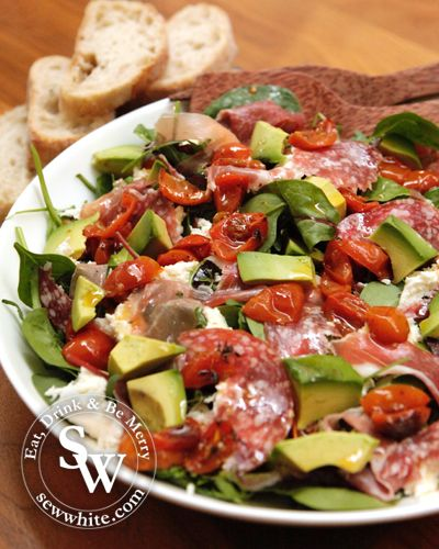 Italian inspired salad, avocado, salami, chorizo, Parma Ham, mozzarella, oven roasted tomatoes, recipe, Dinner Party Dish Starter