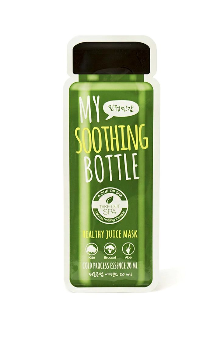 My Soothing Bottle Healthy Juice Mask by Landing International™ is like a juice cleanse for your skin. This hydrating sheet mask contains cold-pressed kale, broccoli, and aloe to banish redness and irritation while feeding skin with antioxidants and vitamins. Cooling and calming, this moisture-rich mask contains hyaluronic acid to restore plumpness and leave skin glowing.