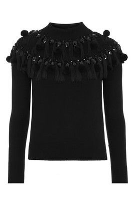 Pom Pom Tassel Sweater - Black
