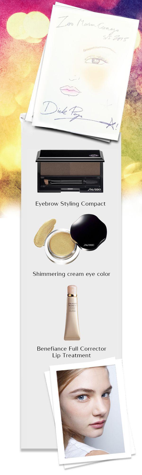 Il #look fresco e brillante di Dick Page per la collezione naïf di Zero+Maria Cornejo: un tocco di rosa perlato per le labbra, sfumature verde-dorate per gli occhi e blush sulle gote per illuminare lo sguardo. #ShiseidoFW #NYFW www.shiseido.it