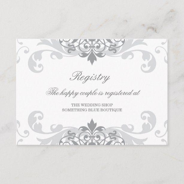 Classic Silver Grey Ironworks Wedding Registry Enclosure Card Zazzle Com In 2020 Wedding Registry Cards Wedding Registry Wedding Shop