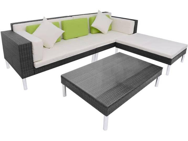 Vidaxl 4 Tlg Garten Lounge Set Mit Auflagen Poly Rattan Schwarz Garten Lounge Set Garten Lounge Lounge