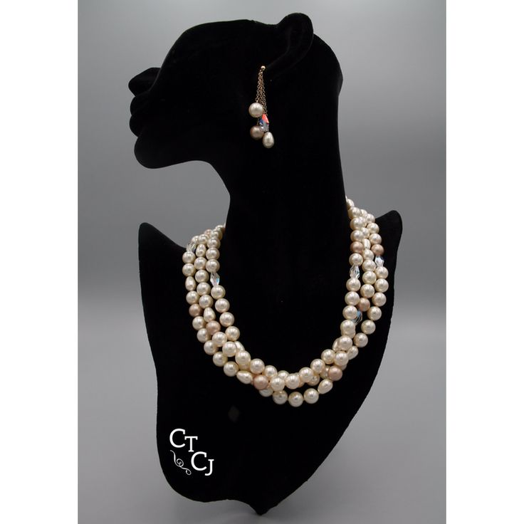 So elegant - Swarovski tri cream pearl and AB crystal. Closed with 14k gold filled findings. Visit us and order a set like this custom designed for you!
