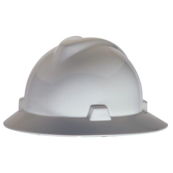 msa vgard full brim hard hat fastrac suspension white