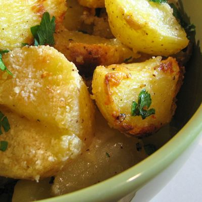 Parmesan roasted potatoes are my new favorite side dish.  When you need a potato fix this is a great side dish to add to meat even for the bbq