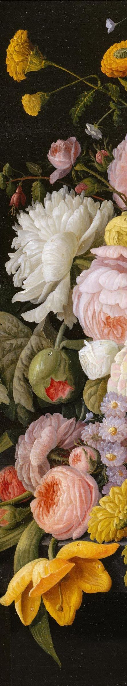 Detail of floral still life painting by Severin Roesen (1815-1872)