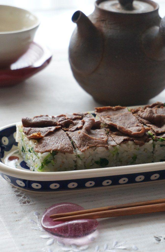 junjunの野菜日記  : 牛肉と豆苗ナムルの押し寿司