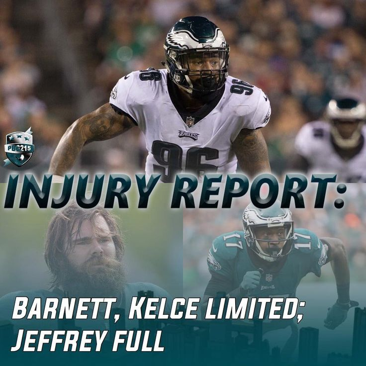 Injury report: DE Derek Barnett (groin) and C Jason Kelce (ankle) were limited in practice today. WR Alshon Jeffery was a full participant after being limited yesterday. DT Beau Allen and TE Trey Burton were also both full participants after missing last Sundays game vs Chicago.