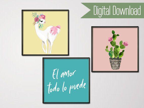 dd9f97c3d28f17 Llama Print - Cactus Poster - Love Finds a Way - Cactus Art Set of 3 Prints  - Nursery 3 Printable - Llama Art - Cactus Printable - Alpaca