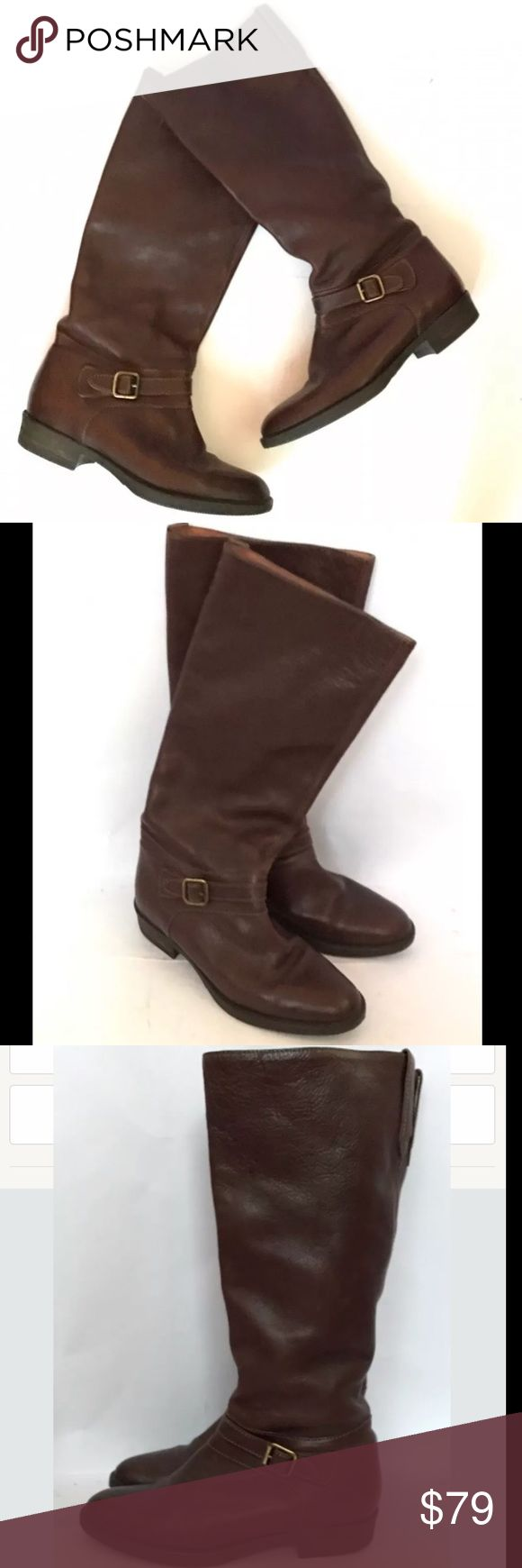J. CREW Women's Brown Leather Boots J. Crew distressed leather boots. Size 6 . In great condition. If you are more like a size 6.5 they will not fit. These boots are good for a size 6 or a 5.5 . The leather quality is so good. Rubber sole. Leather upper and leather lining. J. Crew Shoes Combat & Moto Boots