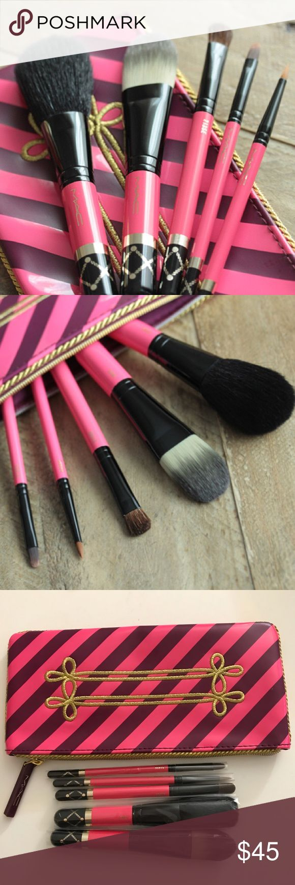 Brand new MAC Nutcracker Brush Kit with Pouch Brand new and completely authentic! ❤️ MAC Nutcracker Sweet Basic Brush Kit. Contains striped pouch, and a set of 5 make up brushes. 190SE Foundation Brush, 129SE Powder/Blush Brush, 213SE Fluff Brush, 209SE Eye Liner Brush, 316SE Lip Brush. This is a $135 value and retailed for $53 before it was discontinued. 🤗 Free shipping on bundles of 3 or more! 🎉 MAC Cosmetics Makeup Brushes & Tools