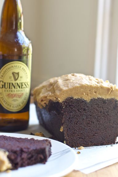 """Chocolate """"Stout"""" Cake + Peanut Butter Frosting"""