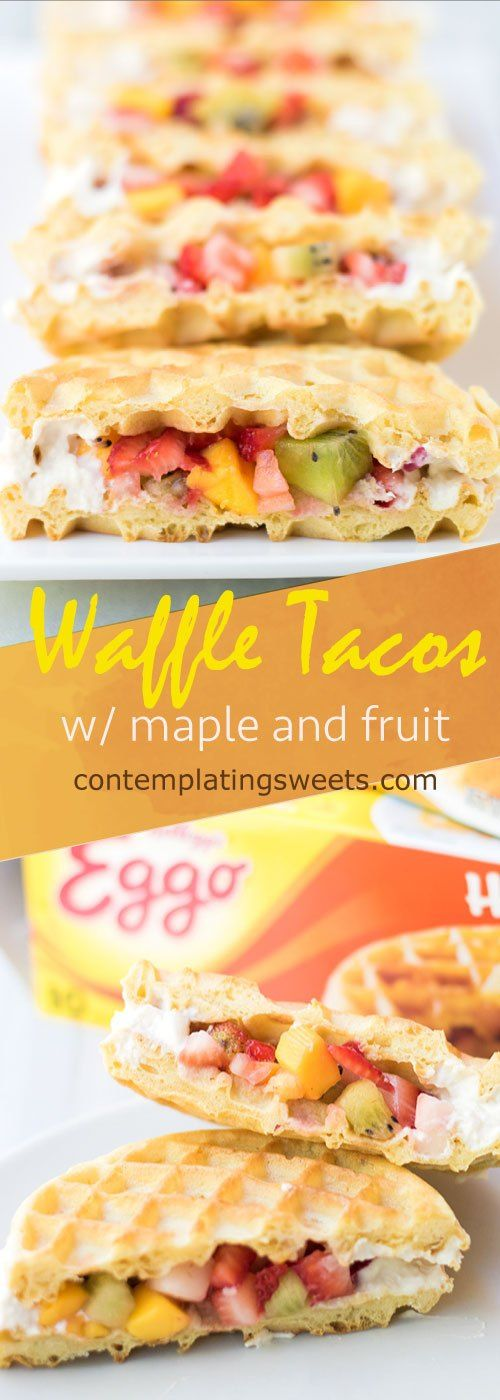 Fruit and Maple Waffle Tacos- These waffle tacos are filled with chopped fruit and sealed with a homemade maple cream cheese. It comes together so easily, you could serve this on a weekday morning! #ad #eggomyway