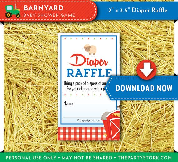 Games For Baby Shower Diaper Raffle Tickets For Barnyard