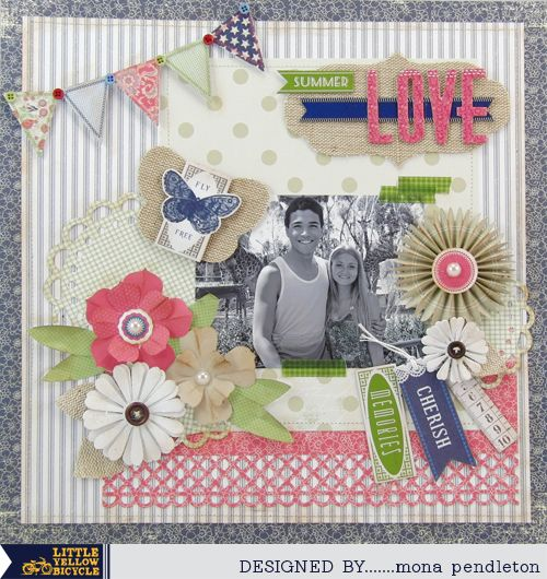 Little Yellow Bicycle: Layout From Vintage Summer Guest Designer Mona Pendleton