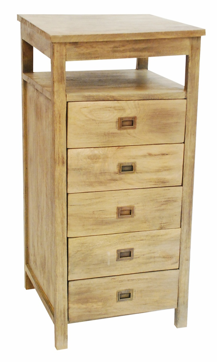 Kalbarri Tallboy  The Kalbarri tallboy solidly made in mango wood with a light natural finish which features 5 drawers with an open shelf is perfect for any modern interior.