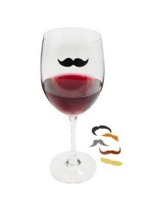 Kikkerland Glasmarkers Snor - Set van 6 #mustache