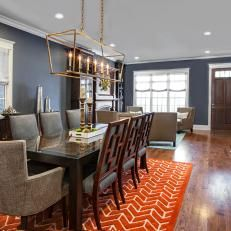 Orange And Navy Blue And Mustard Dining Room   Google Search