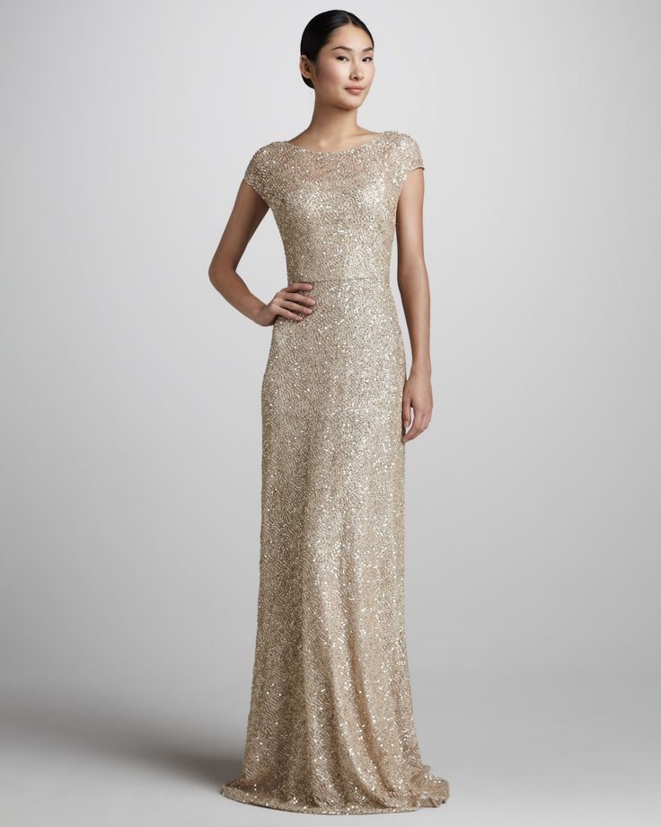 David Meister Signature Sequined Cap Sleeve Gown Neiman