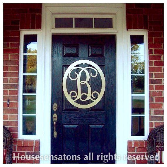 """Monogrammed Door Wreath- 22"""" 40+ color choices  / Monogram Door Hanger/ Metal Monogram /  Personalized Gift/Front Door Wreath/Sign"""