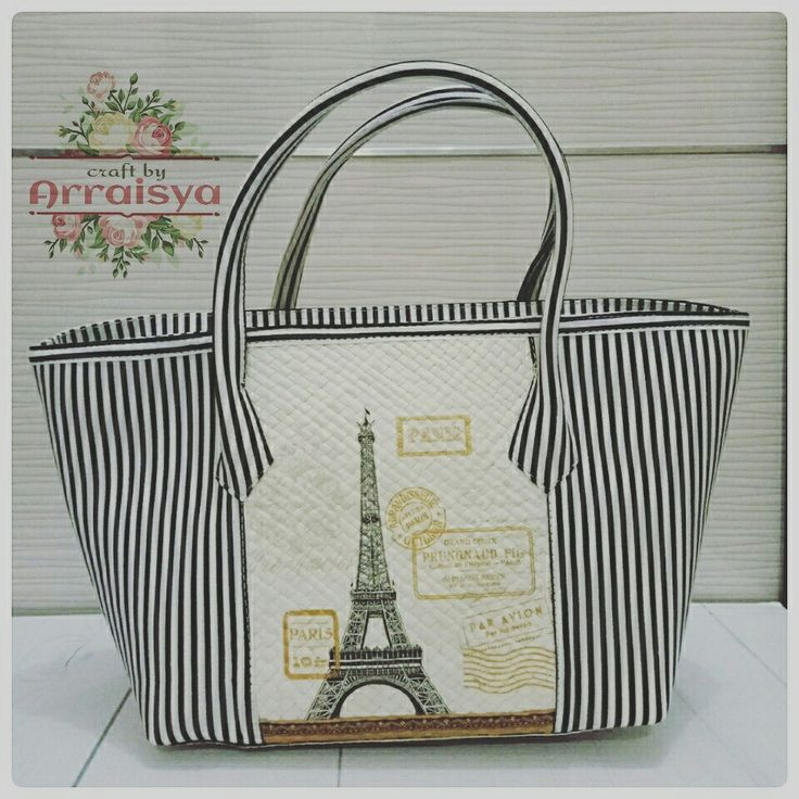 Découpage on Pandanus Woven Handbag with Stripes motive