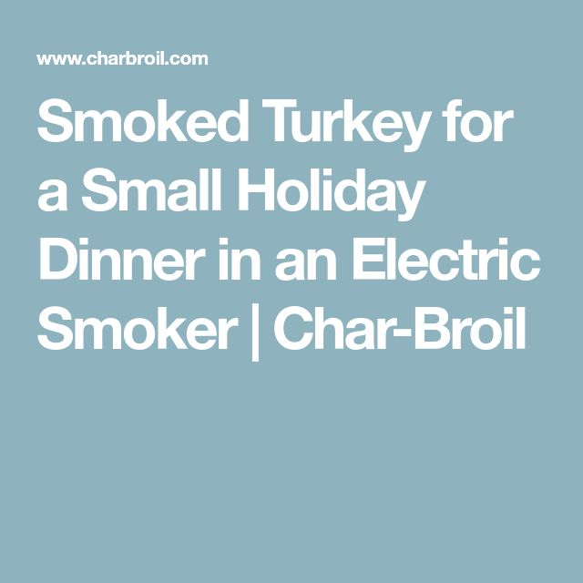 Smoked Turkey for a Small Holiday Dinner in an Electric Smoker   Char-Broil