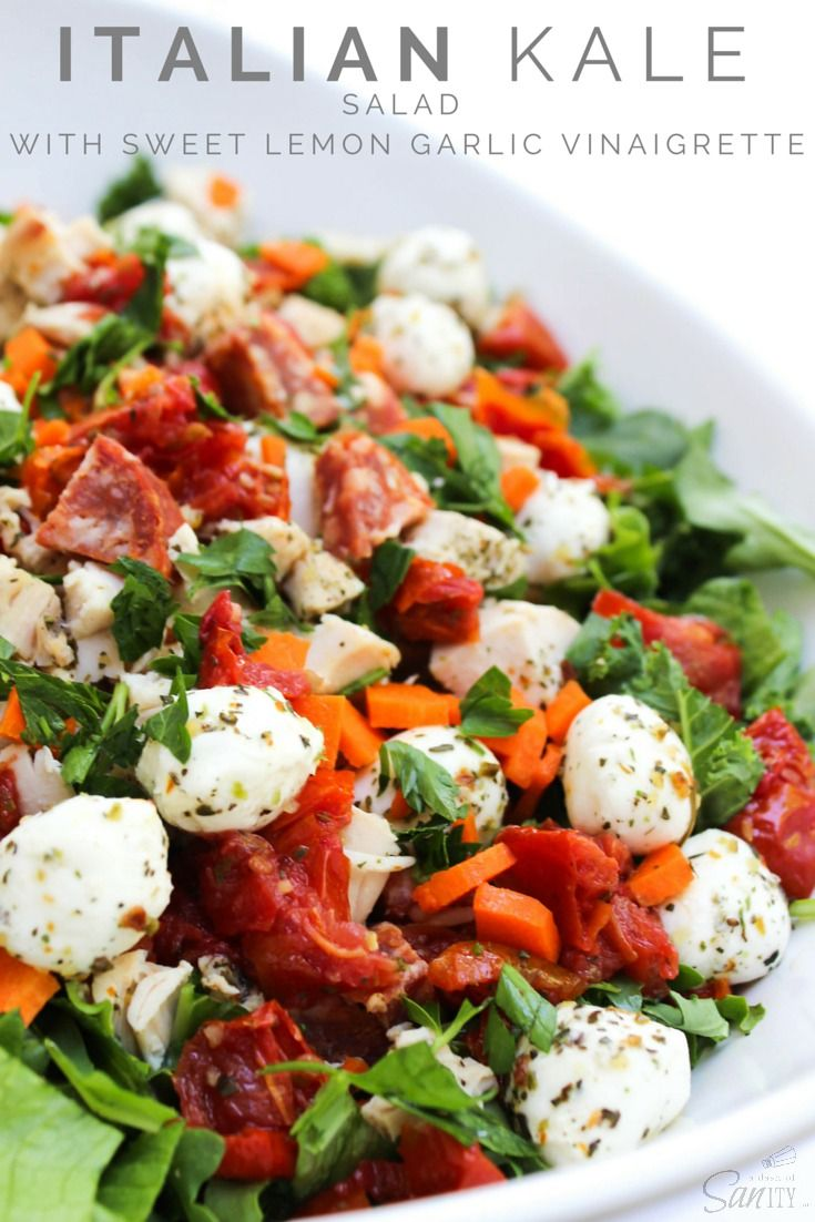 Italian Kale Salad with Sweet Lemon Garlic Vinaigrette--I will use normal lettuce/romaine instead of Kale