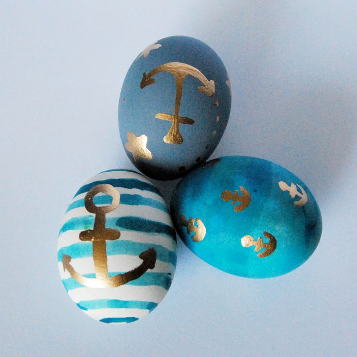painted easter eggs, nautical, anchors, blue, denim, gold, stipes